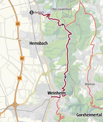 Karte / Von Laudenbach nach Weinheim