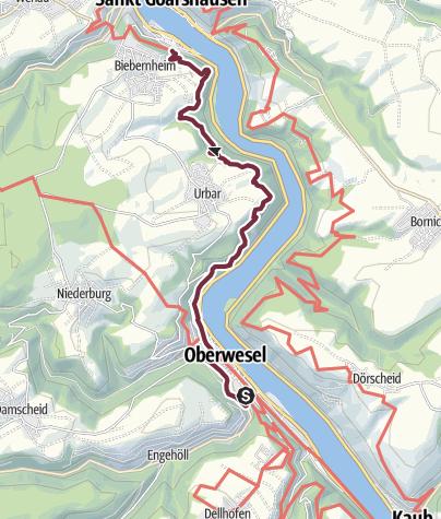 Karte / RheinBurgenWeg 04. Etappe Oberwesel - St. Goar (Süd-Nord)