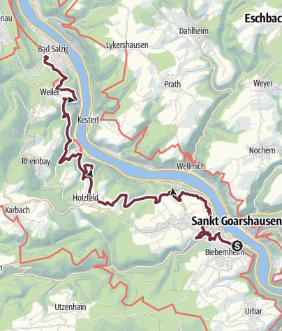 Map / RheinBurgenWeg Stage 5: St. Goar - Bad Salzig (South - North)