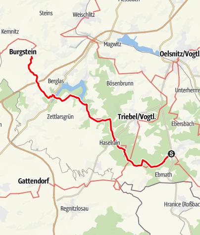 """Karte / Kammweg Etappe 15 """"Von Eichigt ins Burgsteingebiet"""""""