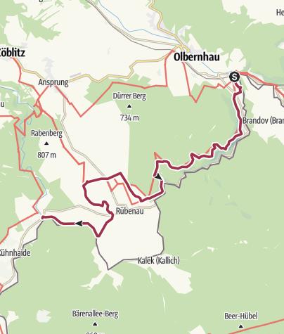 """Karte / Kammweg Etappe 05 """" Von Olbernhau nach Kühnhaide"""""""