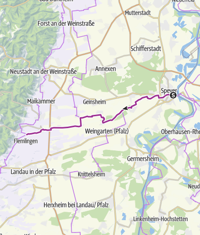 Map / From Rhine to Wine Cycle Route