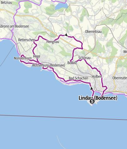 "Karte / Bodensee-Tour Nr. 1 ""Panorama-Radrunde am Lindauer Bodensee"""
