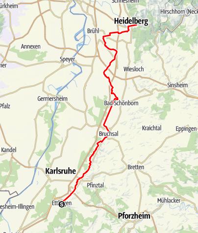 Karte / Paneuroparadweg am Oberrhein Abschnitt Ettlingen - Heidelberg