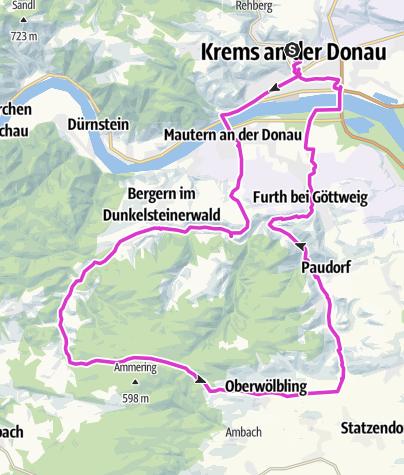 Karte / Rennrad:Krems-Baumgarten-Bergern-Wolfenreit-Paudorf-Krems