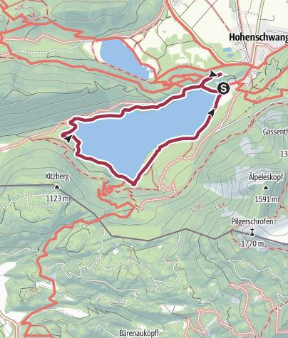 Karte / Rund um den Alpsee bei Schloss Hohenschwangau