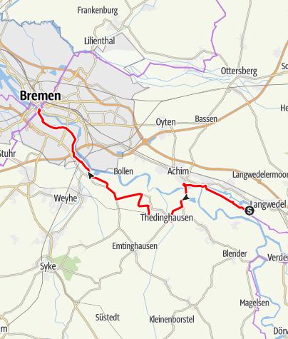 Karte / Weser-Radweg, 11.Etappe: Von Langwedel bis Bremen