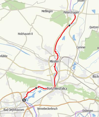 Karte / Weser-Radweg, 07.Etappe: Von Bad Oeynhausen bis Petershagen