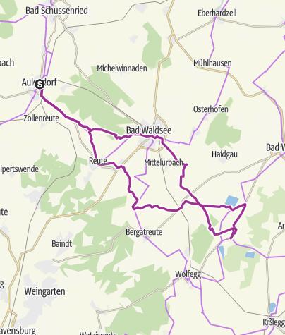 Karte / (BOS) Von Aulendorf nach Eintürnenberg und zurück - sportliche Tour