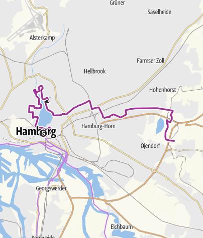 Karte / Hamburg Stadt Route : Von der City zum Öjendorfer See
