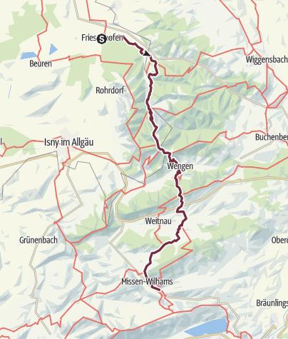 Karte / Pforzheim - Pforzheimer Hütte 9.Etappe Leutkirch/Friesenhofen - Missen/Wilhams