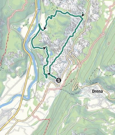 """Karte / Das Biotop der Marocche, die """"Valli della Luna"""" (Das Mondtal)"""