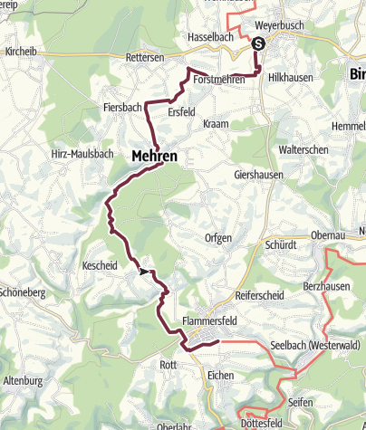Karte / WesterwaldSteig  12. Etappe Weyerbusch - Flammersfeld (Ost-West)