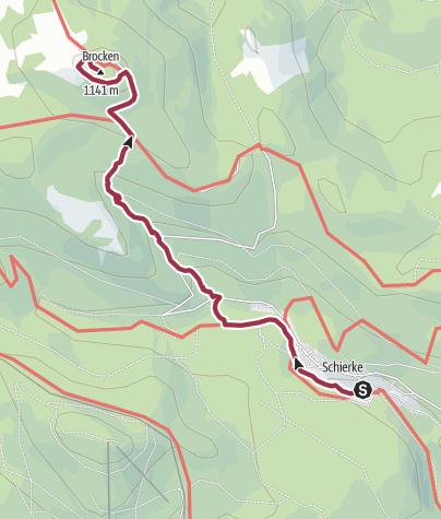 Karte / Von Schierke durch den Eckerlochstieg auf den Brocken