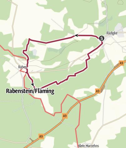 Karte / Rundwanderung von Rädigke zur Burg Rabenstein