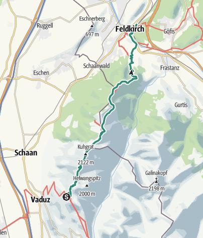 Karte / Liechtenstein: Fürstensteig und Drei-Schwestern-Steig