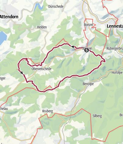 Karte / Bilstein: Veischeder Sonnenpfad - Nord-Westschleife