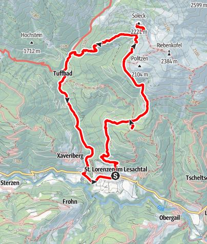 Karte / Lackenalm – Soleck – Tuffbad – St. Lorenzen