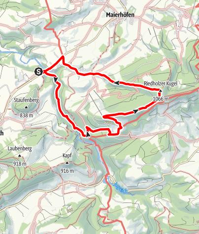 Karte / Naturschutzgebiet Eistobel: Rundweg über die Riedholzer Kugel - Westallgäuer Wasserweg 20