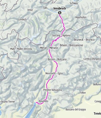 Karte / Innsbruck - Jaufenpass - Torbole