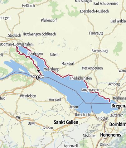 Map / Trek - DE Konstanz to Lindau - 120km, 5 Days