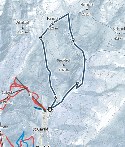 Karte / Skitour zum Mallnock