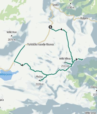Map / Great two-day hike on Mt Čvrsnica via Veliki Vilinac and Pločno peaks