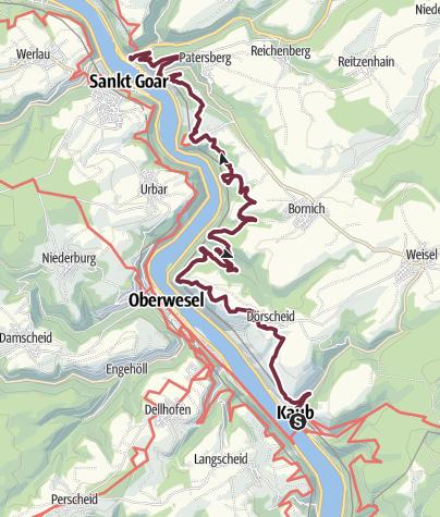Karte / Rheinsteig 07. Etappe Kaub - St. Goarshausen (Süd-Nord)