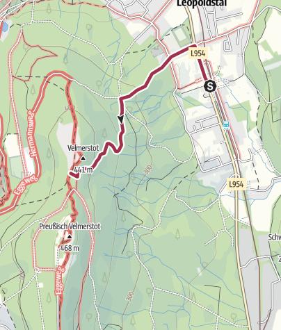 Karte / Zugangsweg Hermannshöhen: Leopoldstal