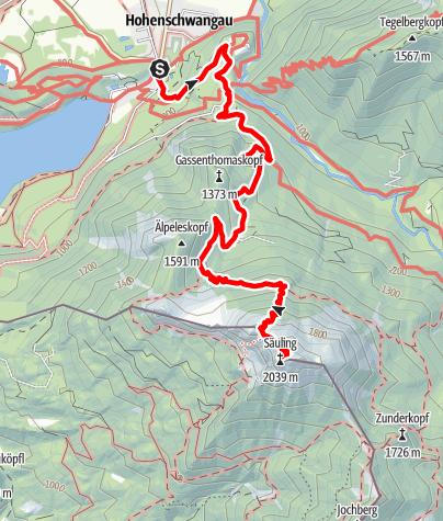 Karte / Bergtour zum Säuling