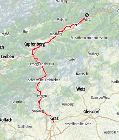 Karte / Von Ghega nach Graz Radweg - Auf den Spuren des Weltkulturerbes