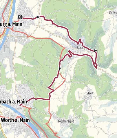 Karte / Fränkischer Rotwein Wanderweg - 3. Etappe von Elsenfeld nach Erlenbach