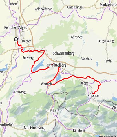 Karte / Vier-Seen-Tour ins Ostallgäu