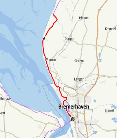 Karte / Weser-Radweg, 14.Etappe: Von Nordenham-Blexen/ Bremerhaven bis Dorumer Neufeld
