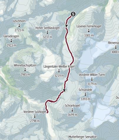 Map / SHR Tour-2 Hochalpin 3.Etappe: Westfalenhaus – Amberger Hütte, Sellrainer Hüttenrunde - Ötztalschlaufe