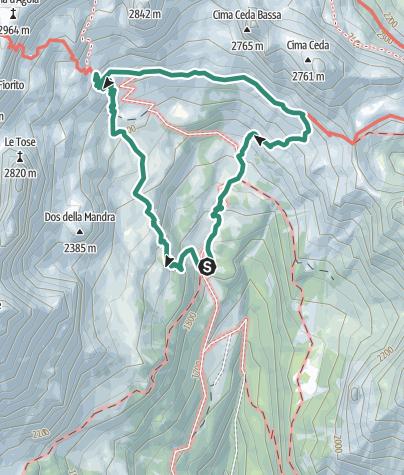 Map / Trek ring to Rifugio Cacciatore and Rifugio Agostini