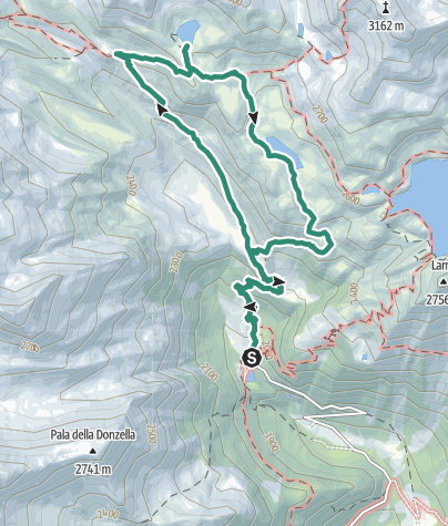 Cartina / Trekking al Rifugio Larcher, Lago delle Marmotte e Lago Lungo