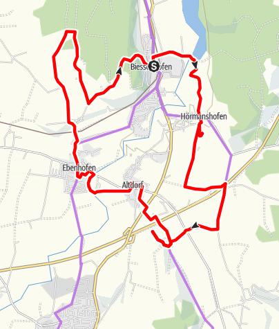 Karte / Sagenhafter Weg - Route Biessenhofen