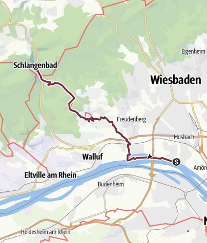 Karte / Rheinsteig 01. Etappe Wiesbaden-Biebrich - Schlangenbad (Süd-Nord)