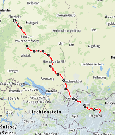 Karte / Etappentour Pforzheim - Pforzheimer Hütte
