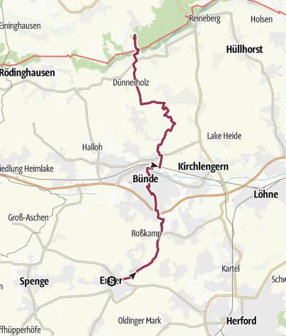 """Karte / Der """"Herzogweg"""" von Enger bis zur Babilonie"""
