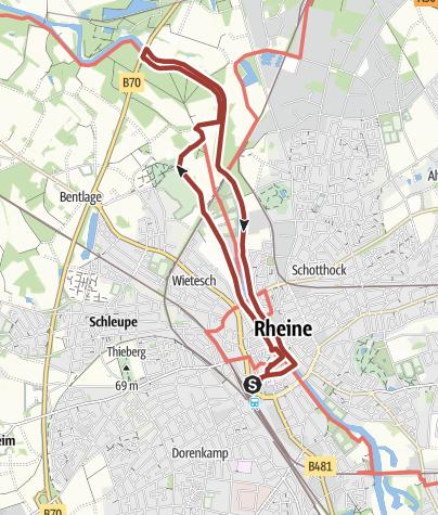 """Kaart / Hermannshöhen Tourtip 01: """"Stad, land en rivier"""" in Rheine"""