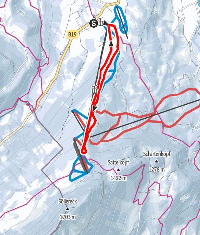Karte / PistenTour zum Berghaus Schönblick 350 HM, D-Oberstdorf
