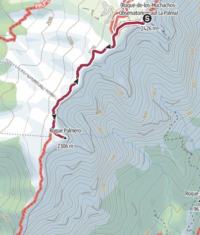 Karte /  Roque de Los Muchachos und Roque Palmero