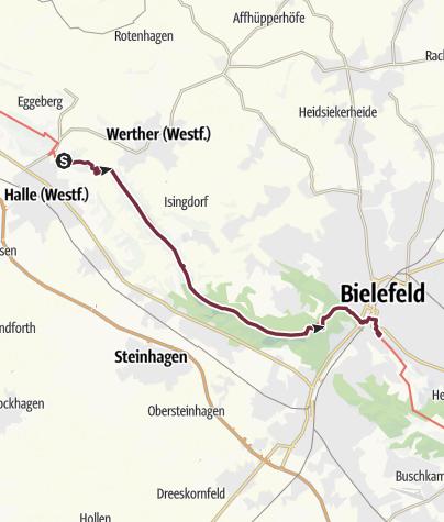 Kaart / Hermannshöhen - Etappe 06 van Halle Westfalen naar Bielefeld