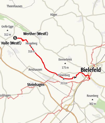 Karte / Hermannshöhen - Etappe 06 von HalleWestfalen bis Bielefeld
