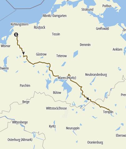 Karte / 6 Tage quer durch Mecklenburg-Vorpommern nach Brandenburg