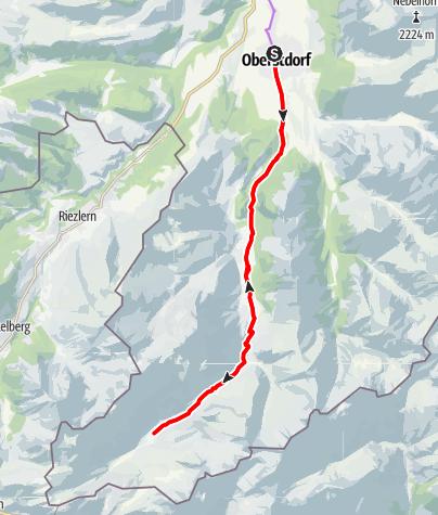 Karte / Tour ins Stillach- und Rappenalptal