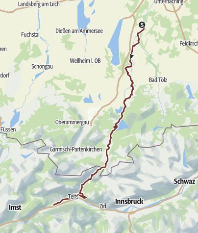 Karte / Jakobsweg Isar - Loisach - Leutascher Ache - Inn