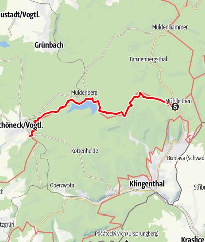 """Karte / Kammweg Etappe 13 """"Von Muehlleithen nach Schoeneck"""""""